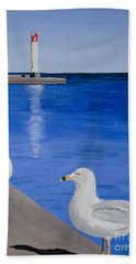 Bronte Lighthouse Gulls In Oil Hand Towel
