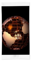Hand Towel featuring the digital art Bronze Globe... by Tim Fillingim
