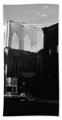 Bath Towel featuring the photograph Brooklyn Bridge 1970 by John Schneider