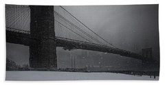 Brooklyn Bridge Blizzard Bath Towel