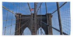Hand Towel featuring the photograph Brooklyn Bridge by David Gleeson