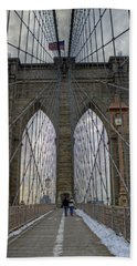 Hand Towel featuring the photograph Brooklyn Bridge by Jerry Gammon