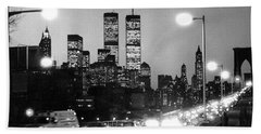 Brooklyn Bridge Traffic II Dusk 1980s Bath Towel