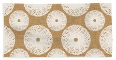 Brown And White Floral Hand Towel