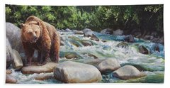 Brown Bear And Salmon On The River - Alaskan Wildlife Landscape Hand Towel