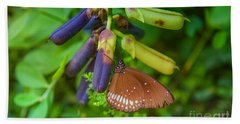 Brown Butterfly In The Green Jungle Hand Towel