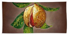 Hand Towel featuring the painting Brown Glow Nutmeg by Laura Forde