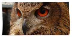 Bath Towel featuring the photograph Brown Owl by Vicki Spindler
