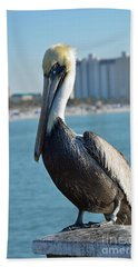 Hand Towel featuring the photograph Brown Pelican by Robert Meanor
