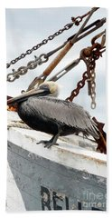 Brown Pelican Hand Towel by Valerie Reeves