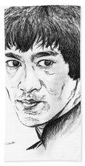 Bath Towel featuring the drawing Bruce Lee by Teresa White