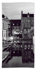 Bruges Canal In Black And White Bath Towel