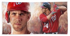 Bath Towel featuring the painting Bryce Harper Artwork by Sheraz A