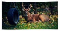 Buck In The Back Yard Hand Towel