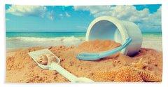 Bucket And Spade On Beach Hand Towel