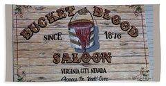 Bucket Of Blood Saloon 1876 Hand Towel by David Millenheft