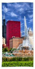 Buckingham Fountain Sears Tower Hand Towel