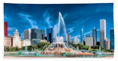 Bath Towel featuring the painting Buckingham Fountain Skyline Panorama by Christopher Arndt