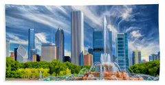 Bath Towel featuring the painting Buckingham Fountain Skyscrapers by Christopher Arndt