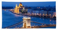 Budapest Cityscape At Night Hand Towel