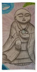 Buddha And The Eye Of The World Hand Towel by Thomasina Durkay