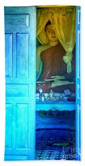 Buddha Behind A Blue Door Hand Towel