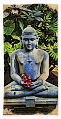 Hand Towel featuring the painting Buddha In Garden by Joan Reese