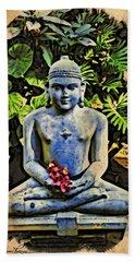 Buddha In Garden Hand Towel by Joan Reese