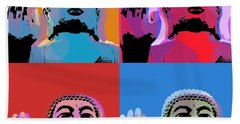 Hand Towel featuring the digital art Buddha Pop Art - 4 Panels by Jean luc Comperat