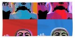 Bath Towel featuring the digital art Buddha Pop Art - 4 Panels by Jean luc Comperat