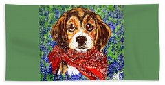 Buddy Dog Beagle Puppy Western Wildflowers Basset Hound  Bath Towel