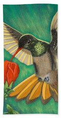 Hand Towel featuring the painting Buff-bellied Hummingbird by Fran Brooks