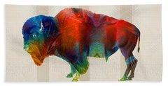 Buffalo Animal Print - Wild Bill - By Sharon Cummings Hand Towel by Sharon Cummings