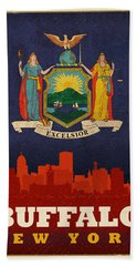 Buffalo City Skyline Flag Of New York State Art Poster Series 003 Hand Towel