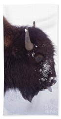 Buffalo In Snow   #6983 Hand Towel by J L Woody Wooden