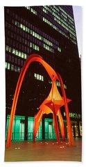 Buildings Lit Up At Night, Flamingo Hand Towel