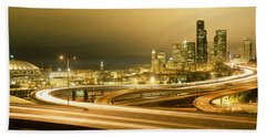 Buildings Lit Up At Night, Seattle Hand Towel by Panoramic Images