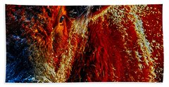 Hand Towel featuring the photograph Bull On Ice by Amanda Smith