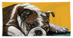 Bulldog On Yellow Hand Towel