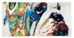 Bulldog Pop Art - How Bout A Kiss - By Sharon Cummings Hand Towel by Sharon Cummings