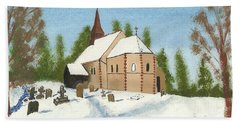Bath Towel featuring the painting Bulley Church by John Williams