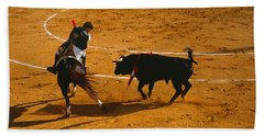 Bullfighter Taunting Bull In Ring Bath Towel