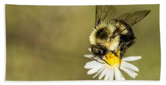 Bumble Bee Macro Bath Towel by Debbie Green