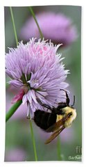 Hand Towel featuring the photograph Bumblebee On Clover by Barbara McMahon