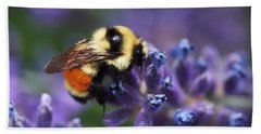 Hand Towel featuring the photograph Bumblebee On Lavender by Rona Black