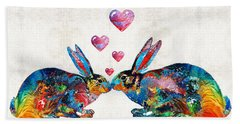 Bunny Rabbit Art - Hopped Up On Love - By Sharon Cummings Bath Towel