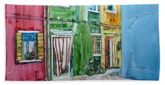 Bath Towel featuring the painting Burano by Anna Ruzsan