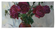 Burgundy Peonies Bath Towel