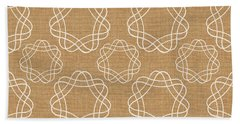 Burlap And White Geometric Flowers Hand Towel