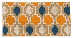 Burlap Blue And Orange Design Bath Towel